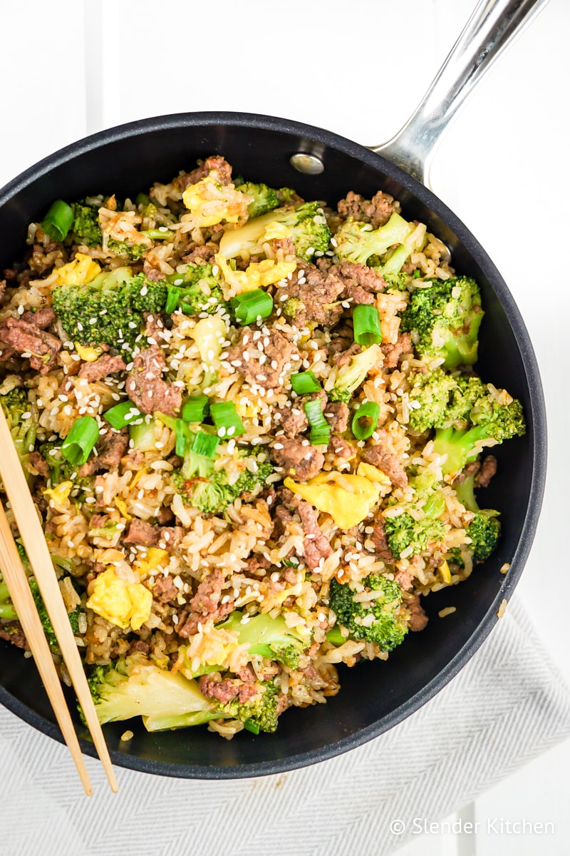 Beef and Broccoli Fried Rice with chopsticks.