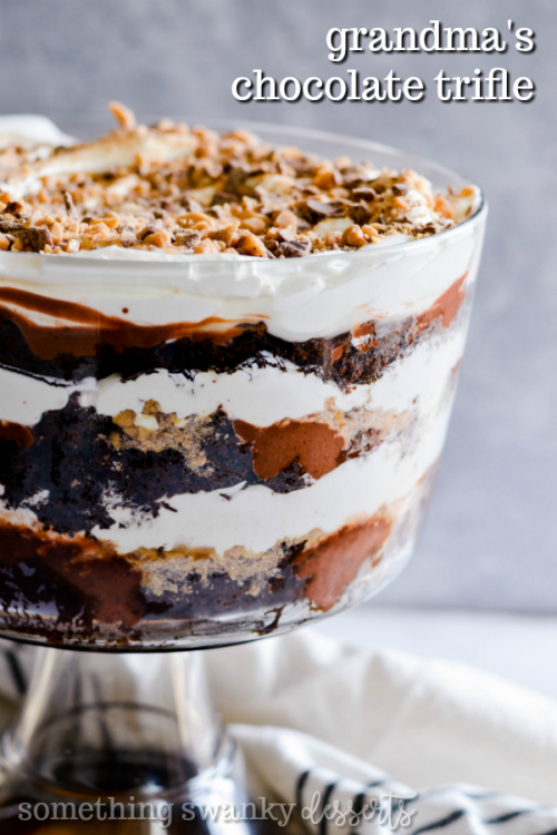 My grandmother's recipe for a family favorite. Layers of chocolate cake, pudding, Cool Whip, and Heath Toffee Bits make this the most incredible holiday dessert ever! We gobble this up every time my grandma sets it on the table.